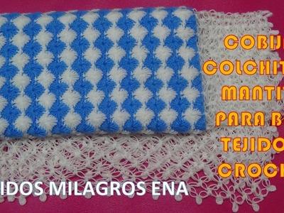 Mantita o Cobija para Bebe punto Rombos Crochet con Borde Espuma de Mar