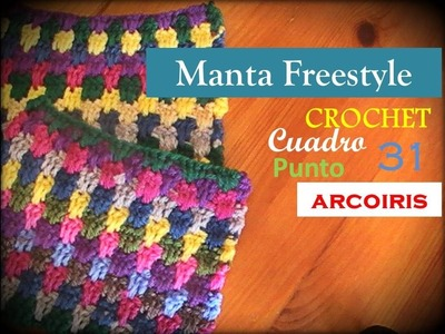 PUNTO ARCOIRIS a crochet - cuadro 31 manta FREESTYLE (zurdo)