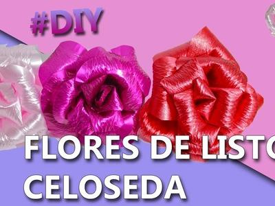 COMO HACER FLORES CON LISTON CELOSEDA | Manualidades como hacer flores