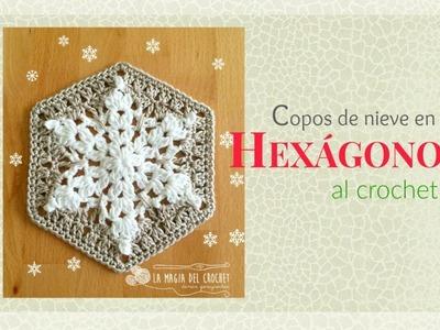 Cómo hacer un Granny hexagonal con Copos de nieve al crochet