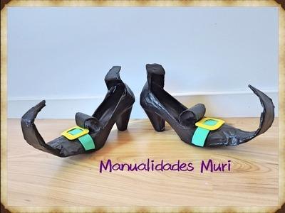 Manualidades Muri, Zapatos de bruja DIY para Halloween