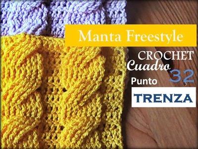 PUNTO TRENZA a crochet - cuadro 32 manta FREESTYLE (zurdo)