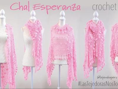Chal Esperanza tejido a crochet - Especial por el Día internacional contra el cáncer de mama