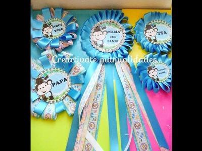 Como hacer Corsage para Baby shower.Distintivos de Babyshower.decoraciones.creactivate manualidades