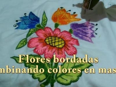 Flores bordadas combinando colores en masiso |Creaciones y manualidades angeles