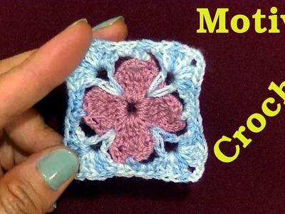 Motivo N° 14 en tejido crochet o ganchillo tutorial paso a paso.