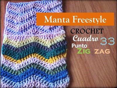 PUNTO ZIG ZAG a crochet - cuadro 33 manta FREESTYLE (Diestro)