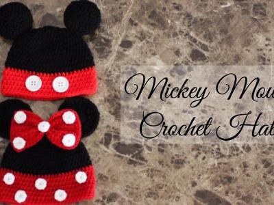 Como hacer un gorro fácil de Mickey Mouse a ganchillo, gancho, y crochet