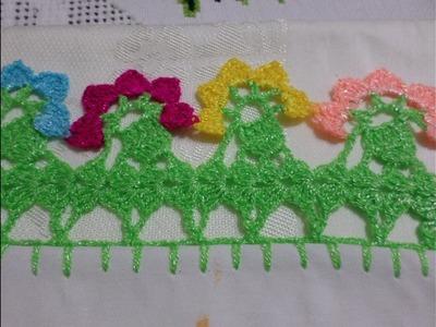 Orilla o Puntilla Tejida Flores de Colores