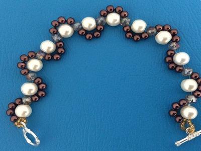 Como hacer pulseras.  Pulsera con perlas. Como hacer pulseras con chaquira y perlas
