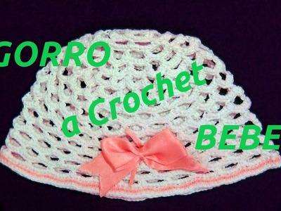 Como tejer un Gorro a crochet para bebe tutorial paso a paso.