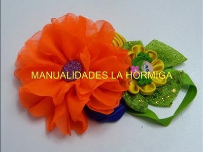 Flor Chifon elegante, boton de rosa con cinta, flor kanzashi, formando tiaras para el cabello #524