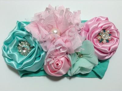 Flor de tela de razo fácil y elegante en tiara  VIDEO No. 303