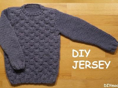 Jersey o suéter para niño de 8 a 10 años tejido a dos agujas paso a paso