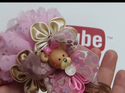 Moños pequeños elegantes con flores de tela faciles , Tiaras con flores para bebes;videos 541