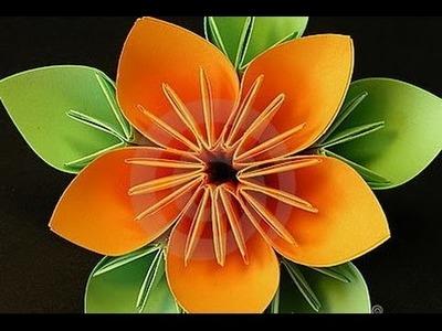 Origami flor - como hacer flor de origami (papiroflexia)