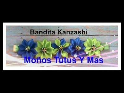 PAP Como Hacer BANDITA ELASTICA KANZASHI Paso a Paso KANZASHI HEADBAND Tutorial DIY How To