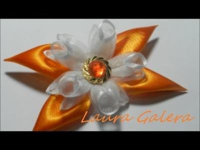 Ribbon flower for hair clip Tutorial