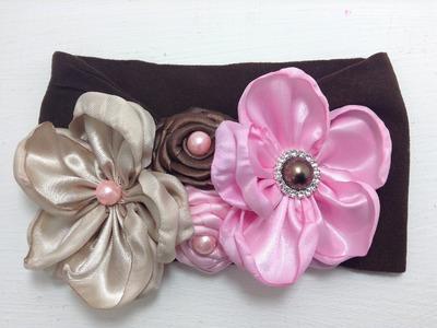 Tiara de flores de tela y listón satin cafe-rosa VIDEO No. 363