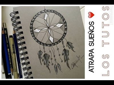 COMO DIBUJAR UN ATRAPA SUEÑOS A LAPIZ PASO A PASO - how to draw dream Catcher step by step