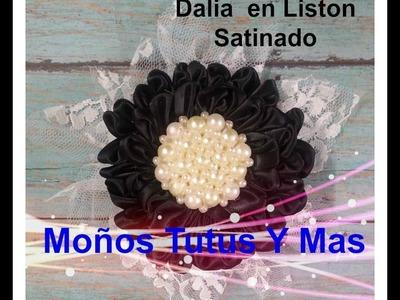 Como Hacer FLOR DALIA CON LISTON Paso a Paso SATIN RIBBON DAHLIA FLOWER Tutorial DIY How To PAP