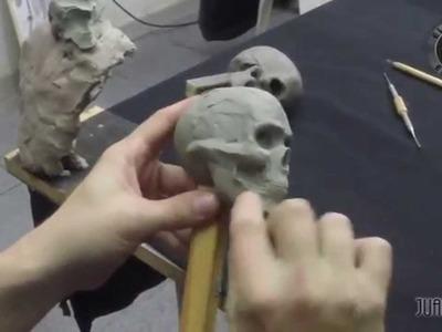 Modelado de un cráneo en plasticera parte 3