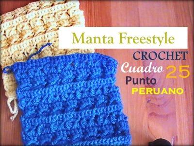PUNTO PERUANO a crochet - cuadro 25 manta FREESTYLE (zurdo)