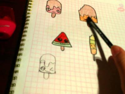 Como dibujar paletas de helados kawaii