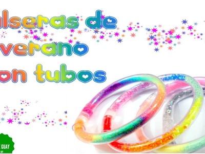 ♥ Haz pulseras de verano con TUBOS DE PLÁSTICO ♥ super lindas en  4 estilos!!! Fáciles.