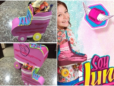 Organizador o dulcero en forma de patin soy luna, organizer or bag shaped birthday skates moon
