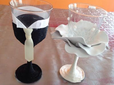 Sencilla y económica decoración para copas de boda Simple and economical decoration for wedding cups