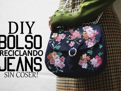 BOLSO RECICLANDO VAQUEROS SIN COSER MUY FACIL - ideas para reciclar pantalones jeans viejos