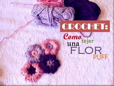 CROCHET: como tejer una flor puff o mollie flowers (zurdo)