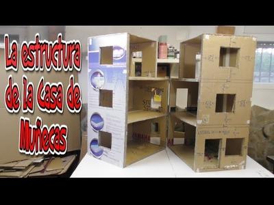 Estructura de la Casa de Muñecas, tutorial hecho con Cartón