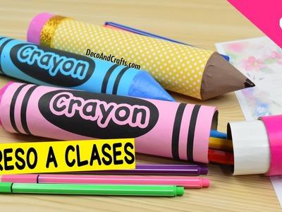Lapicera de Crayola con tubos de cartón - DecoAndCrafts