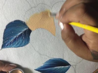 Pintura En Tela Flores y Hojas con cony