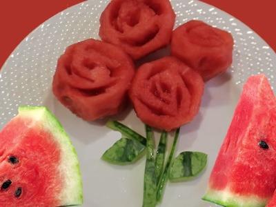 Cómo hacer rosas de sandia. Flores comestibles