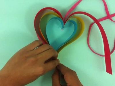 Adorno en forma de corazón de papel - Manualidad para San Valentín