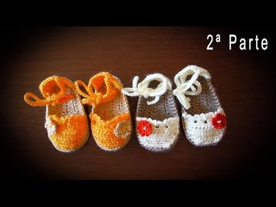 Como hacer alpargatas o esparteñas de bebe en crochet  paso a paso (PARTE 2)