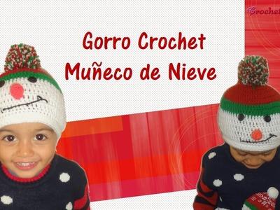 Gorro de navidad muñeco de nieve tejido a crochet