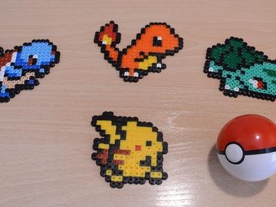 Los 4 pokémon iniciales: Bulbasaur, Charmander, Squirtle y Pikachu (con Hama.Perler beads)