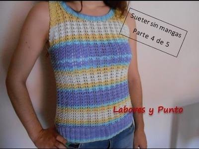 Aprende a tejer este sueter o jersey sin mangas en dos agujas. Parte 4 de 5