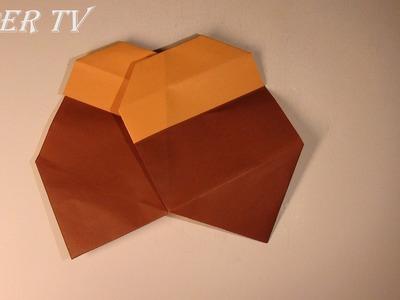[Paper TV]  Origami acorn 도토리 종이접기 折り紙 どんぐり como hacer acorn  de papel bolota de papel