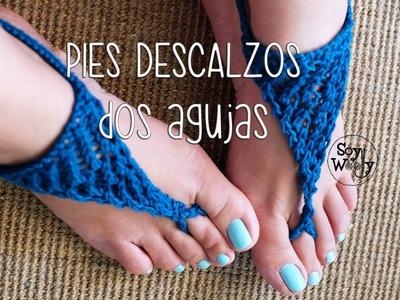 Pies Descalzos [Sandalias] tejidas en dos agujas