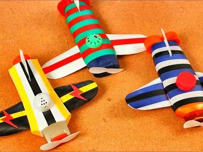 ¿ Como hacer unos avioncitos de juguete con botellas de plástico desechadas ? Reciclaje