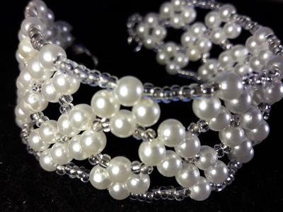 Hermosa pulsera de Perlas y Mostacillas. Clase #25!!!