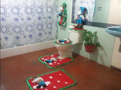Tapetes Navideños Para el Baño en Tela Polar Motivo Santa