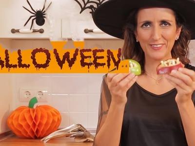 BOCAS DE MANZANA - Recetas de Halloween fáciles para niños.