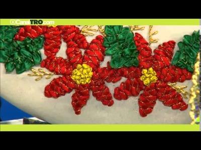 Corona de navidad bordada en cintas