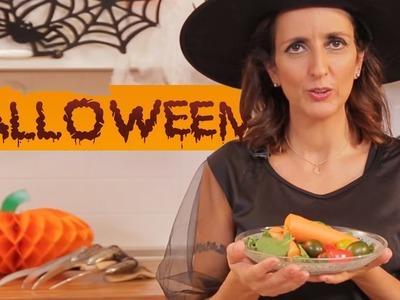 ENSALADA DE FANTASMAS Y CALABAZAS - Recetas de Halloween fáciles para niños.